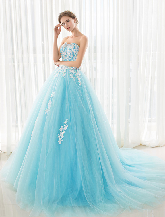 Blue wedding dress lace applique tulle court train strapless blue wedding dress lace applique tulle court train strapless sweetheart lace up a line junglespirit Image collections