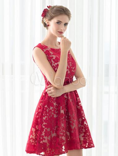 Cocktailkleid rot kurz Ballkleid a Linie ärmellose Homecoming Spitzenkleid Kleider für Hochzeitsgäste