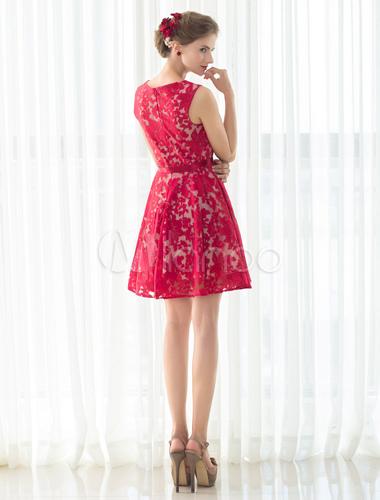 cocktailkleid rot kurz ballkleid a linie rmellose homecoming spitzenkleid kleider f r. Black Bedroom Furniture Sets. Home Design Ideas