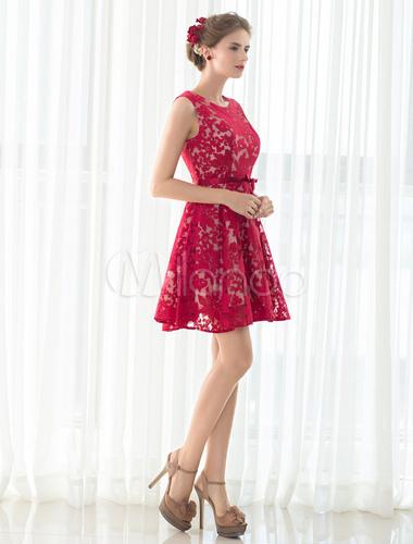 Encaje Vestido De Cóctel Rojo Corto Vestido Sin Mangas Vestido De Regreso A Casa Vestido Vestidos De Boda Para Huéspedes