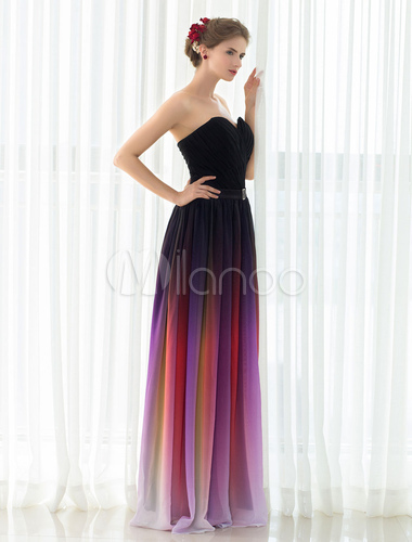 Gladient Prom Dress Chiffon Strapless Sweetheart Evening Dress ...