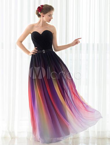 6df01c3674ee ... Gladient Prom Dress Abito da sera senza spalline in chiffon senza  spalline con cintura abito da ...