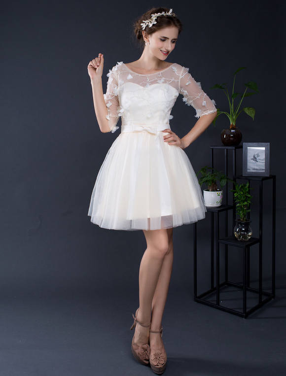 Lace Wedding Dress Short Tulle Off The Shoulder Half Sleeves Mini Bridal Dress A Line Illusion Homecoming Dress