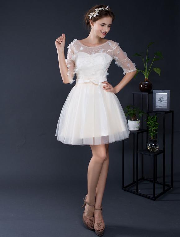 Hochzeitskleid kurze Tüll Off-the-Shoulder halblangen Ärmeln Mini ...