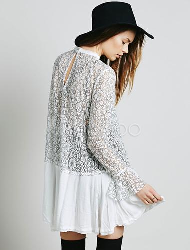 7ae1706043e ... Robe de dentelle blanche ronde cou manches longues découpe robe courte  plissée-No.7