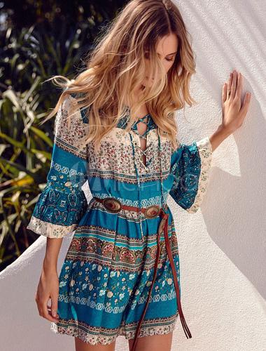 Milanoo / Boho Short Dress Green Round Neck 3/4 Length Bell Sleeve Lace Up Printed A Line Cotton Dress