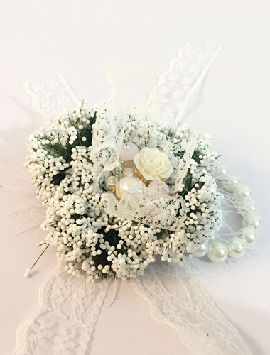 Wrist Corsage Bracelet Wedding Pearls Beaded Bridesmaid White Lace