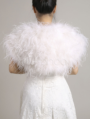 Wedding Fur Bolero Jacket Genuine Ostrich Feather White