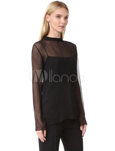 meet 7bb6a bb655 Camicetta trasparente nera manica lunga volant staccabile T camicia top  donna