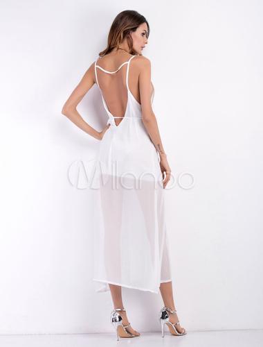 e49d5fccf1 ... Vestido largo de Gasa V tiras blanco cuello sin mangas semi pura  vestido largo para las ...