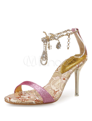 c37232880c2 ... Gold Dress Sandals Glitter Rhinestones Beaded Ankle Strap High Heel  Sandal Shoes-No.2 ...