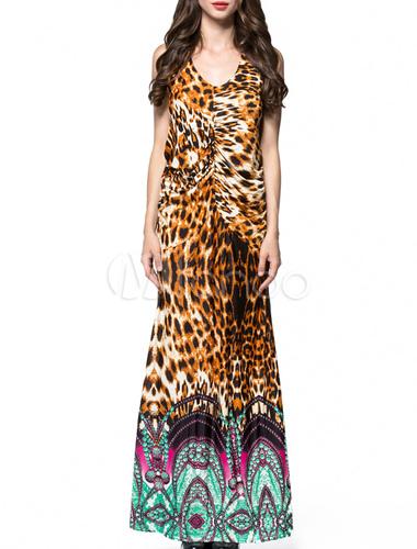 Matrimonio Bohemien Xl : Vestito lungo bohemien con stampa di leopardo scollo a