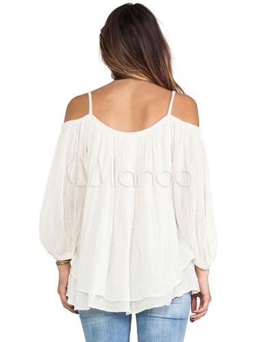 572b27e2b68195 ... White Linen Blouse Spaghetti Straps 3 4 Length Sleeve Buttons Decor  Cold Shoulder Chic Top ...