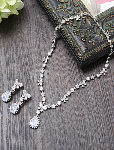 eb37dbb32843 ... Set de joyería para boda Pendientes de clip de metal plateado estilo  clásico para chicas -
