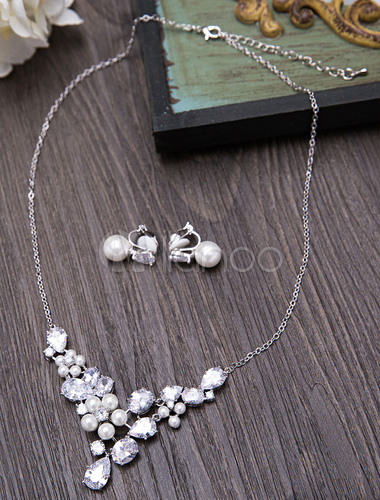 082a1895438d Set de joyería Pendientes de clip de metal estilo femenino para boda  plateado estilo moderno- ...