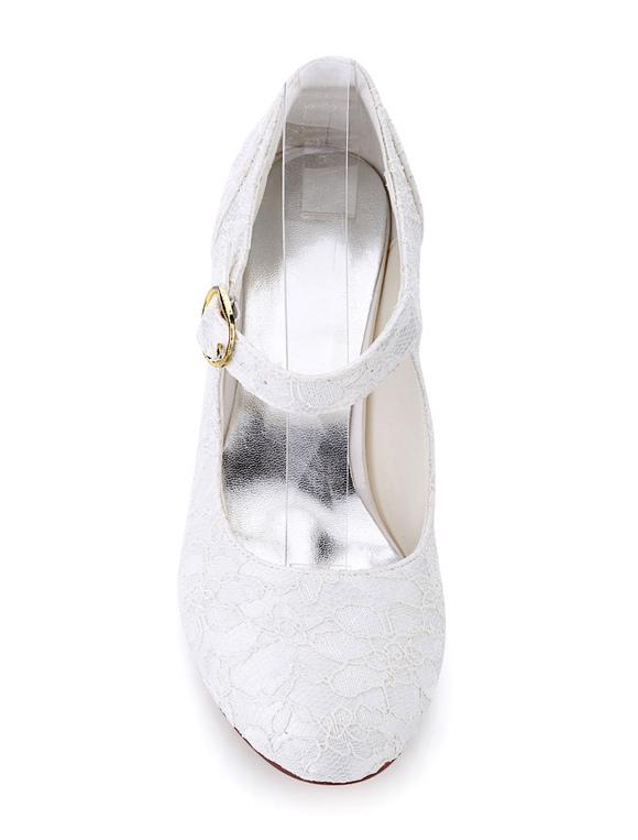 Zapatos de tacón de kitten de puntera redonda de marfil elegantes para boda 647umM2g