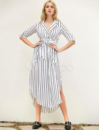 ef49f528ec5 Chiffon Maxi Dress Black Turndown Collar Long Sleeve Striped Shirt Dress  With Sash-No.