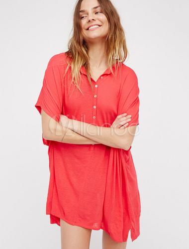 89893ce52f3 ... Red T Shirt Dress Short Sleeve Women s Loose Fit Summer Dress-No. ...