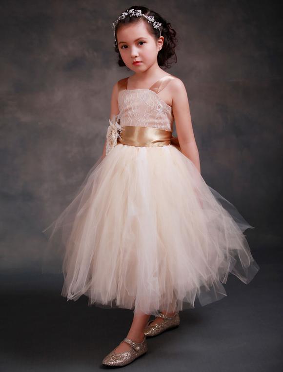 55adf355192688 Robes fille fleur fleurs Champagne princesse Dentelle bretelles Sash robe  Tutu Tulle thé longueur pour tout-petits