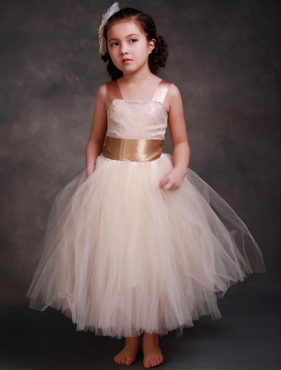 5ff57edee01c5 ... Robes fille fleur fleurs Champagne princesse Dentelle bretelles Sash robe  Tutu Tulle thé longueur pour tout ...