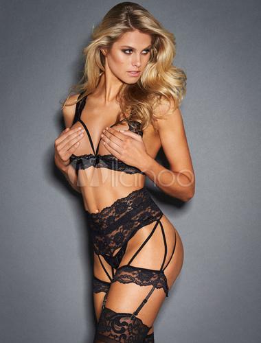 a495c0b5af Lace Bra Set Black Women s Cupless Sexy Lingerie - Milanoo.com