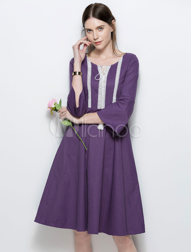 ... Cotton Skater Dress Purple Tassels Round Neck 3 4 Length Flared Sleeve  Pleated Midi Dress ... a7399a57f