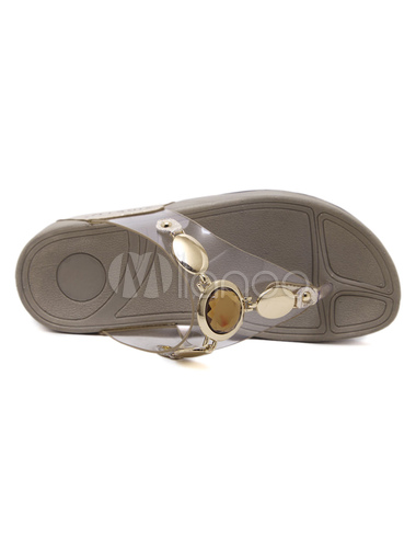 5ddb921ea ... Women s Flip Flops Metallic Detail Gem Jeweled Toe Post Transparent  Upper Wedge Sandal Slippers- ...