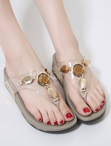 7486c1c68 ... Women s Flip Flops Metallic Detail Gem Jeweled Toe Post Transparent  Upper Wedge Sandal Slippers-No