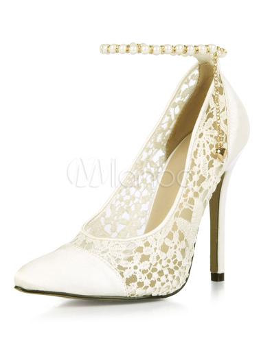 Zapatos de tacón de stiletto de puntera puntiaguada de satén elegantes para boda d8Tr3qFO