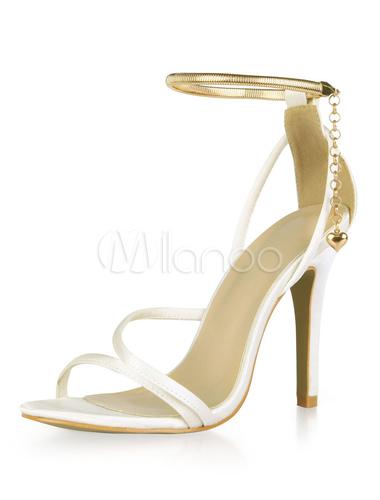 Zapatos de puntera abierta de tacón de stiletto de satén elegantes para boda FBLgQ0