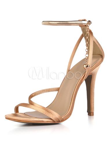 Zapatos de puntera abierta de tacón de stiletto de satén elegantes para boda OhnUHu7