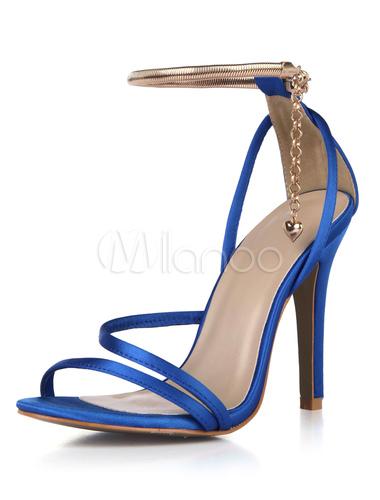Zapatos de tacón de stiletto de puntera abierta de satén elegantes para fiesta formal D2ihx