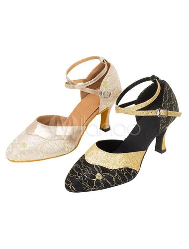 Zapatos de bailes latinos Tacón bobina para baile de puntera puntiaguada MPCczk6nlk
