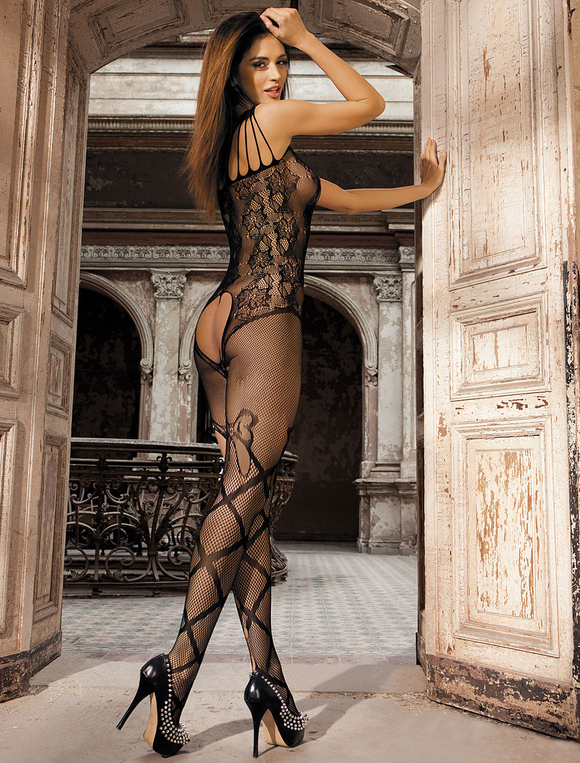 5edee0118 Black Sexy Bodystocking Women s Jacquard Stretch Sheer Lingerie ...
