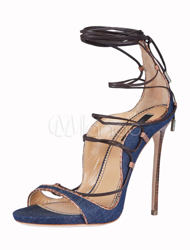 bf1a726305 Blue Gladiator Sandals High Heel Open Toe Lace Up Ankle Strap Sandal Shoes -No.