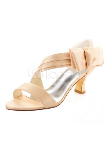 Zapatos de puntera abierta de tacón gordo de satén con lazoelegantes Fiesta de bodas 25s2g8ogb