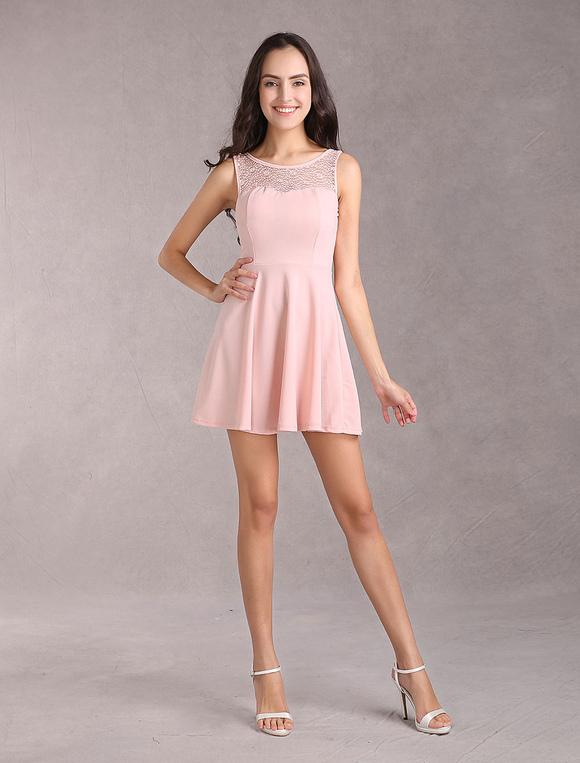 rosa sommerkleid spitze ausschnitt bogen r cken design elastik skater kleid f r frauen. Black Bedroom Furniture Sets. Home Design Ideas