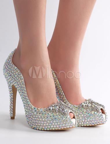 Zapatos de novia de cuero auténtico con pedrería de lujo plateados 3hKsC2tc