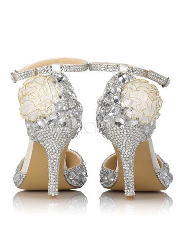 Zapatos de novia de cuero auténtico plateados con cristal de lujo 2M7uBlRPp0