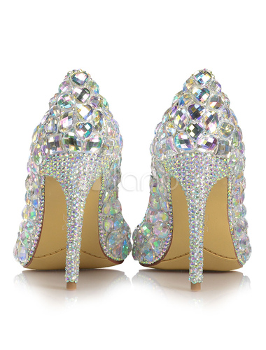 3218ade5 ... Zapatos de novia de cuero auténtico con pedrería de lujo plateados  -No.2 ...