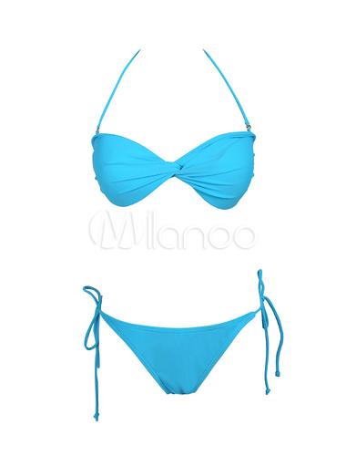 Bikini estilo modernoColor liso con escote halter sin mangas de elastano de marca LYCRA de celeste claro 1HVELS