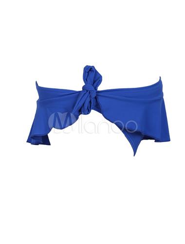 Bikini de azul oscuro estilo informal de elastano de marca LYCRA con escote halter sin mangas Color liso onp0a