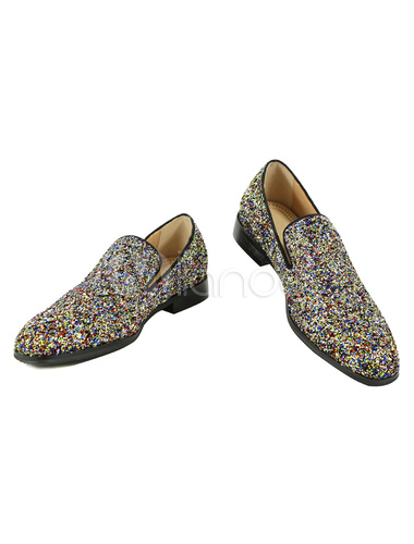 d9007d3b47ba Men Blue Loafers 2019 Prom Shoes Glitter Round Toe Slip Ons Dress Shoes-No.