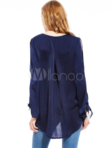 1d46cc9f709 ... Royal Blue Blouse Women s Plunging Neckline Long Sleeve High Low Casual  ...