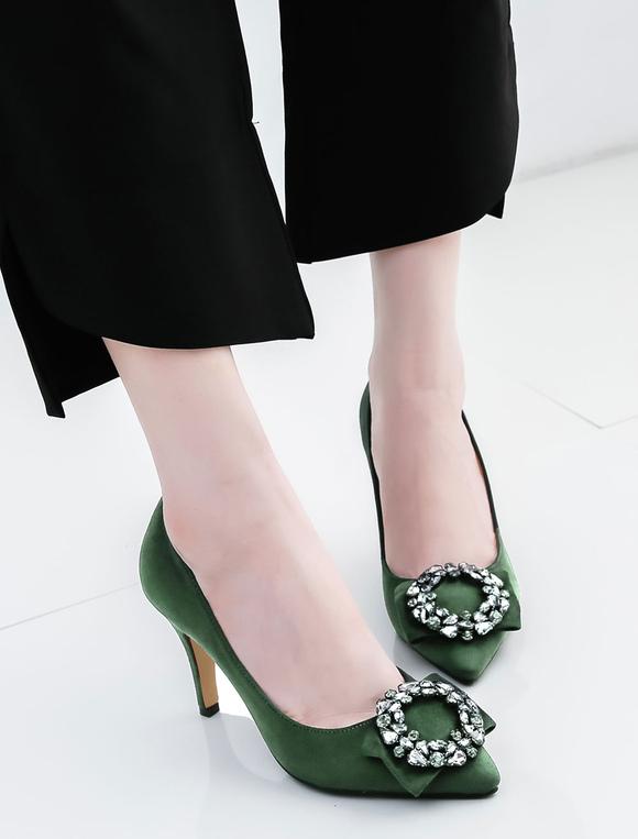 Zapatos de tacón de puntera puntiaguada de pana Color liso con lazo de tacón de stiletto rvOrGV8Njo