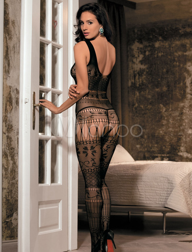 65d700cf8 ... Black Women s Bodystocking Lace Sheer Jacquard Cut Out Sexy Hosiery-No.2