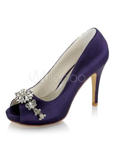 Zapatos de punter Peep Toe de tacón de stiletto de satén con pedrería de lujo Fiesta de bodas C9ibg7