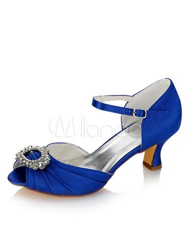 Zapatos Tacón bobina de punter Peep Toe de satén azul de lujo Fiesta de bodas u4adgOAlv