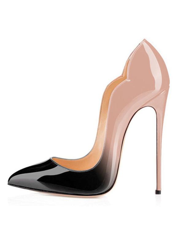 Zapatos de tacón de puntera puntiaguada Charol PU de patente de tacón de stiletto whavWEpmJ