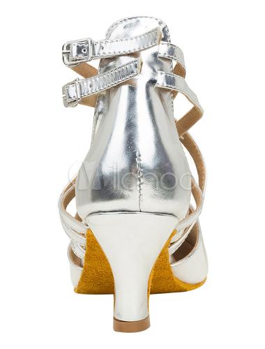 Zapatos de bailes latinos de puntera puntiaguada Tacón bobina de PU plateados para baile MBKw3T
